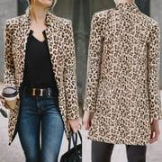 Women Leopard Print Long Sleeve Cardigan Jacket Casual Coat Business Suit Jacket Outwear