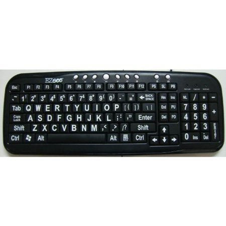 New and Improved: EZsee by DC USB Wired Large Print Keyboard English Standard QWERTY - Black Keys with Bold White Jumbo Oversized Letters / (Keycool 180 Key White Wired Standard Keyboard)