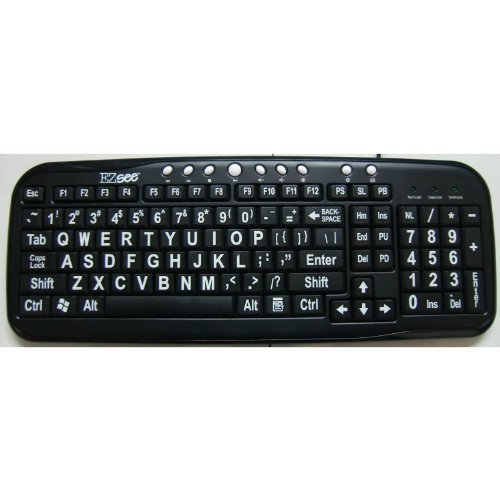 EZsee by DC Large Print English Wired USB Computer Keyboard with White Jumbo Oversized Letters on Black Keys - USB Port (Little Flat Plug)