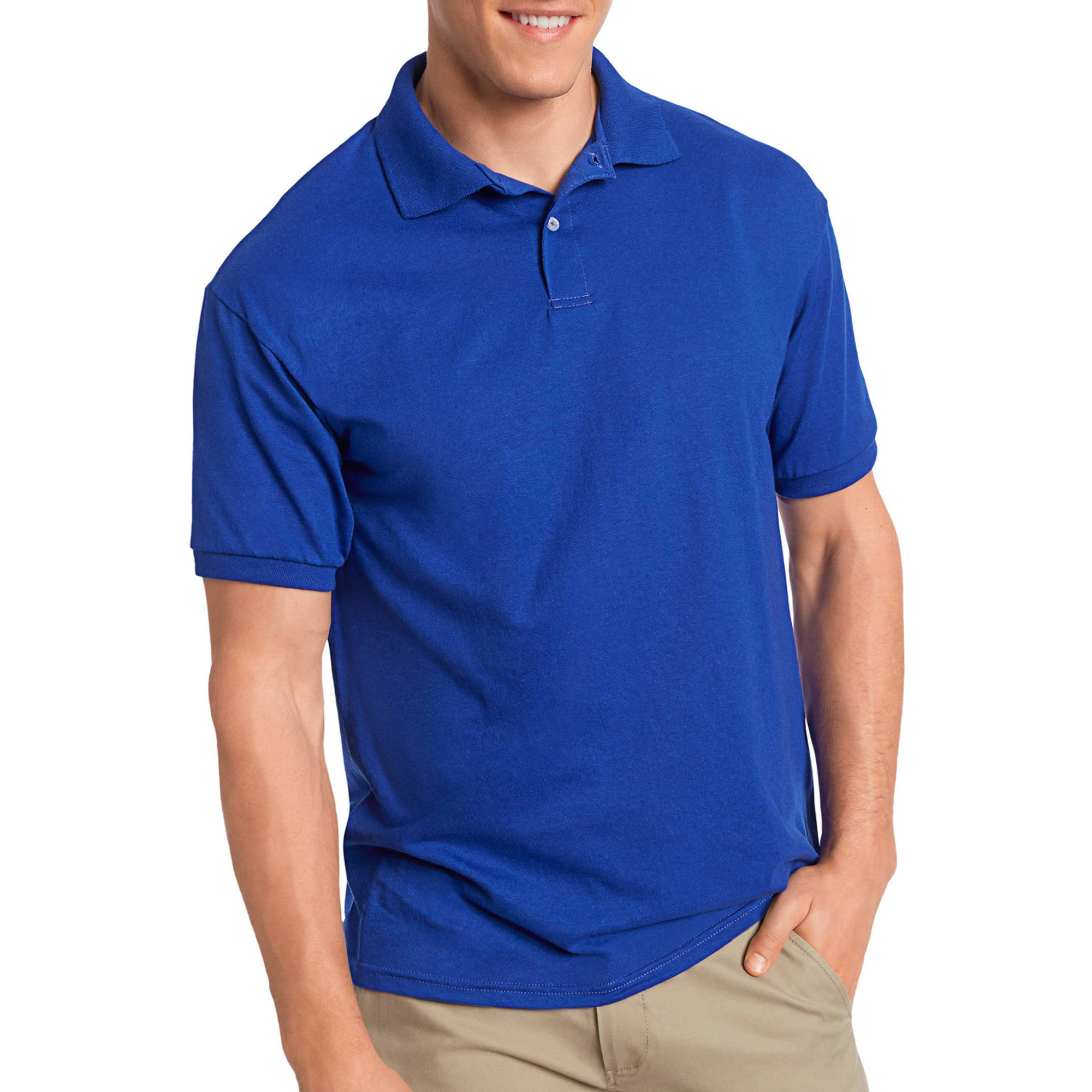 Hanes Men's EcoSmart Short Sleeve Jersey Golf Shirt