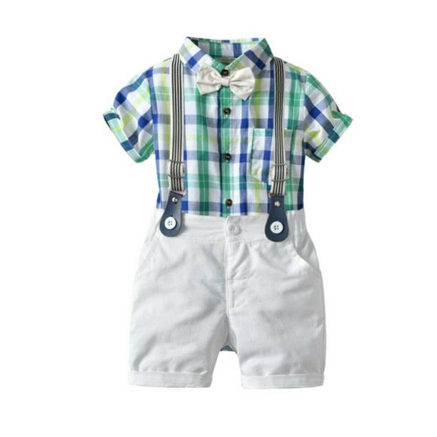 Details about  /2PCS Kids Baby Boy Toddler Romper T-shirt+Bib Pants Overalls Clothes Outfits Set