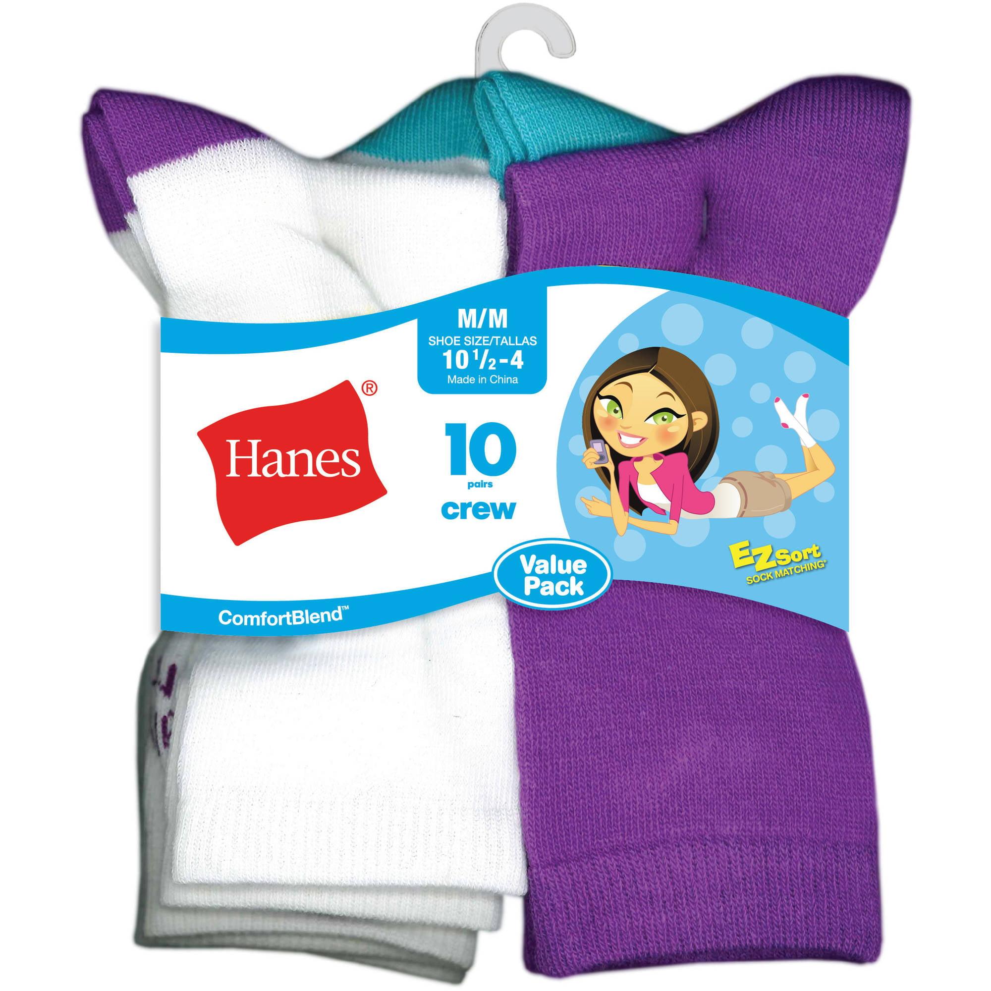Hanes Girls No-Show EZ Sort/® Socks Assorted 10-Pack