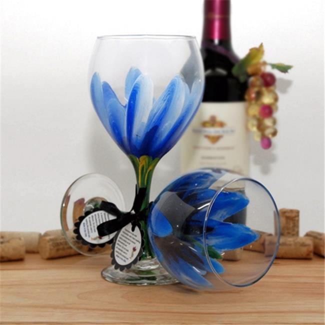 Judi Painted it HIB-Y Hibiscus Wine Glass, Yellow