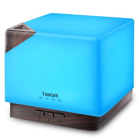 TomCare 700ml Square Aromatherapy Essential Oil Diffuser Humidifier Large Capacity Modern Ultrasonic Aroma Diffusers Running 20+ Hours 7 Color Changing for Home Baby Bedroom Office Study Yoga Spa ()