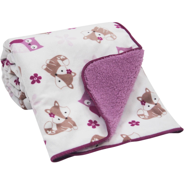 Bedtime Originals Lavender Woods Velour/Sherpa Blanket