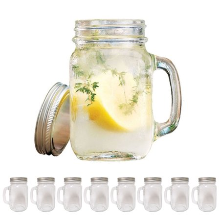 8 Mason Jar With Handle Lid Mug Rustic Bridal Wedding Drinking Glass Clear 16oz