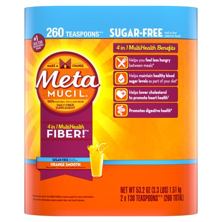 - Metamucil Multi-Health Psyllium Fiber Supplement Sugar-Free Powder, Orange Flavored, 260 Servings (2x130 ct)