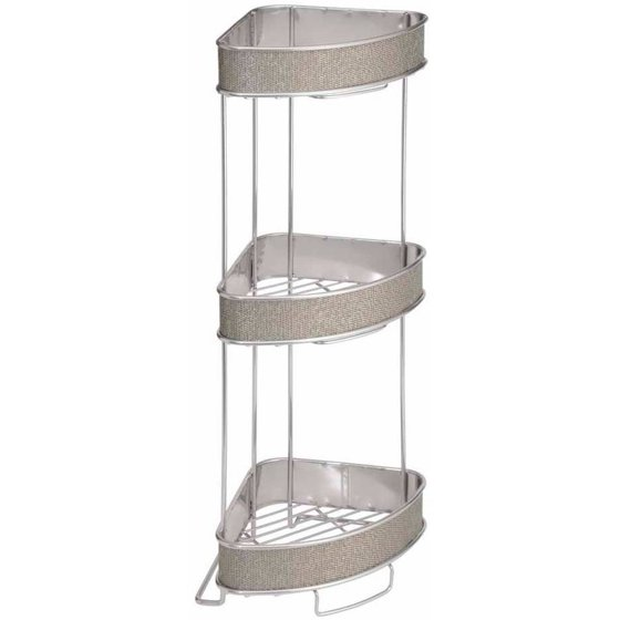 Interdesign Twillo Free Standing Bathroom Corner Storage Shelves For Towels Soap Candles Tissues Lotion Accessories 3 Tier Metallico