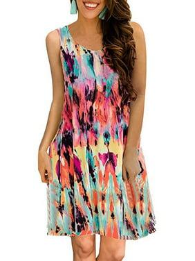 56ea170c8ec Product Image Casual Dresses For Women Summer Bohemia Floral Print  Sleeveless Loose Retro Vest Short Mini Dress Beach