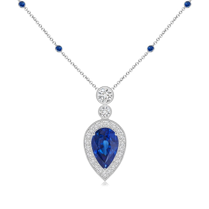 Pear Blue Sapphire Necklace Pendant with Diamond Halo in Platinum (8x5mm Blue Sapphire) by Angara.com