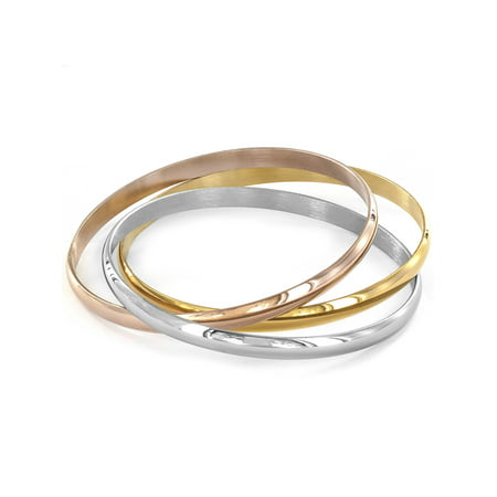 Series Stainless Steel Bangle (Stainless Steel Tri-Color Bangle Bracelets (Set of 3) )