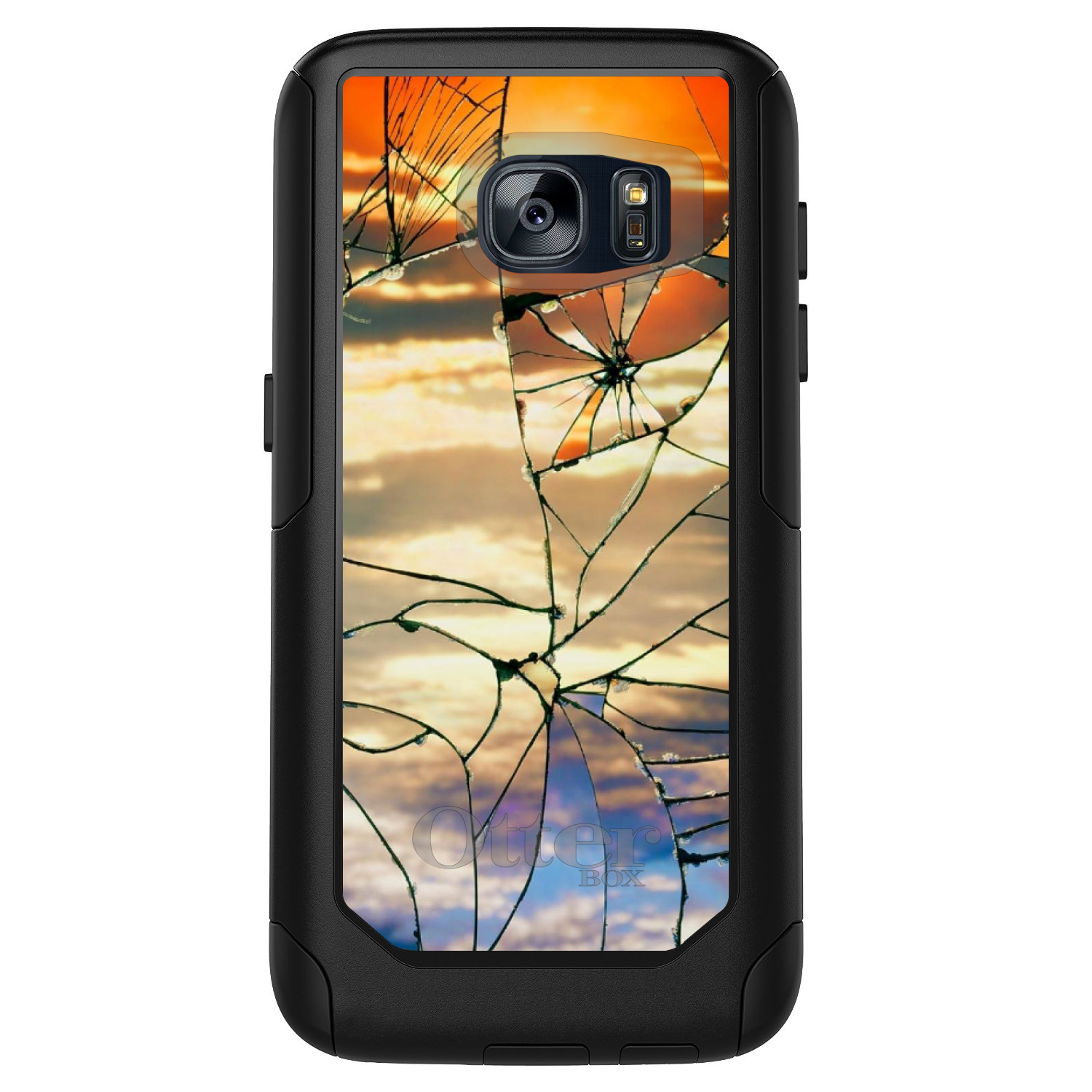 DistinctInk™ Custom Black OtterBox Commuter Series Case for Samsung Galaxy S7 - Shattered Glass Sunrise