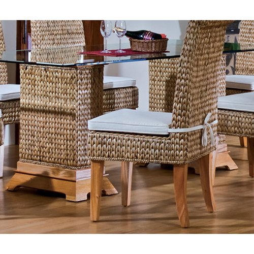 Hospitality Rattan Sea Breeze Indoor Seagrass 48 in. Pedestal Dining Table with Beveled Glass - Natural
