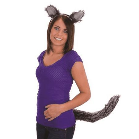Hylian Ears (Wolf Ears And Tail Adult Big Bad Grandma Werewolf Wolfman Set Grey)