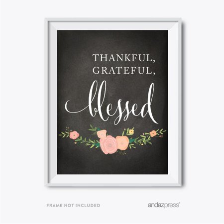 Thankful, Grateful, Blessed Chalkboard Floral Fall Thanksgiving Party Signs - Party City Thanksgiving Hours