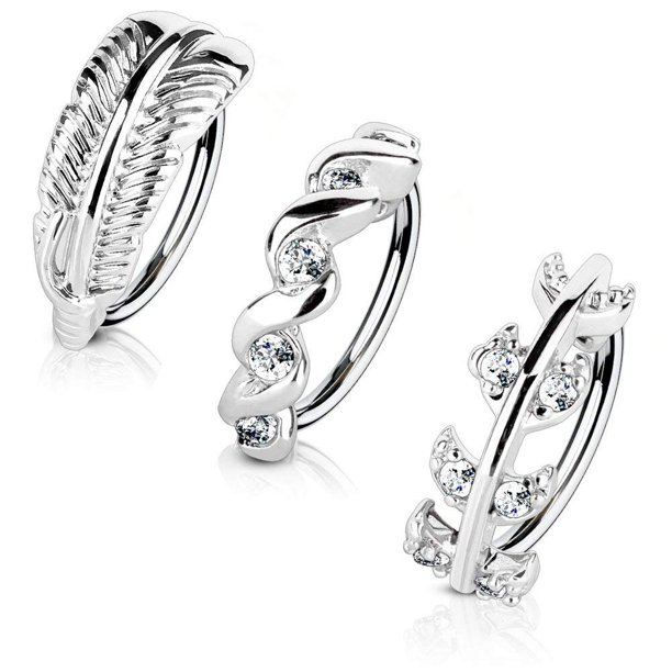 Mobody Mobody 3 Pack 20g Nose Ring Piercing Hoop Paved Cz
