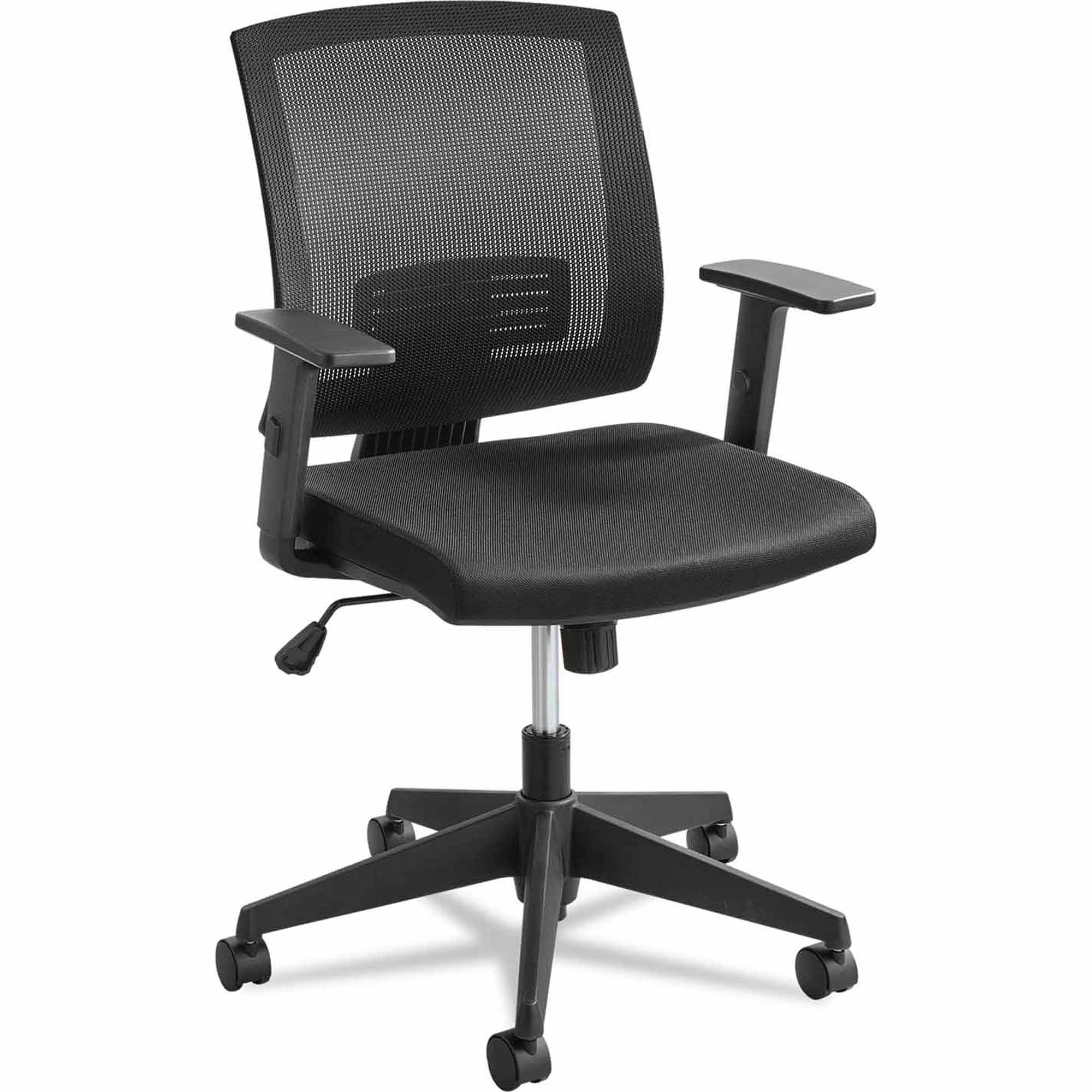 Safco Mezzo Series Task Chair, Mesh Back, Upholstered Seat, Black Seat/Back