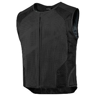 Icon Leather Motorcycle Jacket (Icon Hypersport Stripped Mens Leather Vest Black)