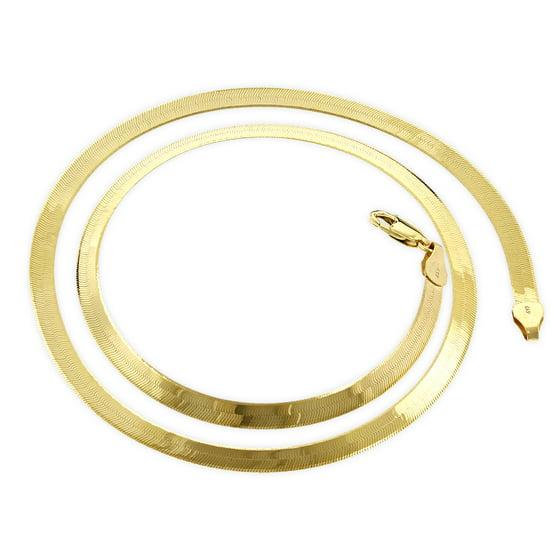 16 Inch Gold Herringbone Necklace: Solid 14K Yellow Gold Herringbone Chain 3mm