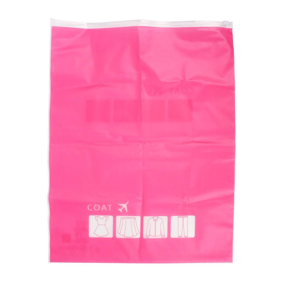 Plastic Water Resistant Travel Clothes Underwear Storage Bag 28x40cm Fuchsia - image 3 de 8