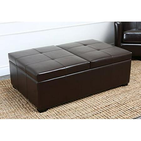 Leather Oak Ottoman - Abbyson Living Frankfurt Dark Brown Bicast Leather Double Flip-top Storage Ottoman