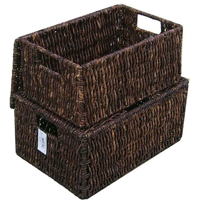 America Basket Woven Grass Rectangular Lidded Storage Baskets (Set of 2)