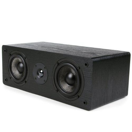 Micca MB42-C Center Channel Speaker With Dual 4-Inch Carbon Fiber Woofer and Silk Dome Tweeter (Black, Each)