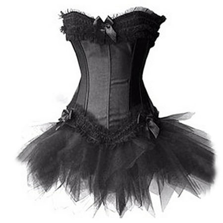 MUKA White Burlesque Corset And Petticoat, Halloween Costume, Gift Idea-Black-XXL (Athena Costume Ideas)