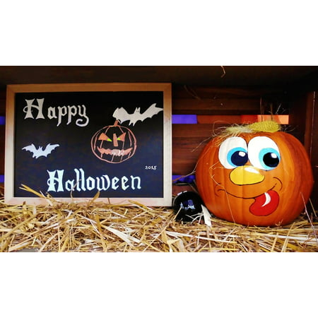 Framed Art For Your Wall Board Greeting Pumpkin Funny Happy Halloween 10x13 Frame (Funny Pumpkins For Halloween)