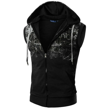 Hood Vest Set (Doublju Mens Casual Sleeveless  Hood Zip-up Vest)