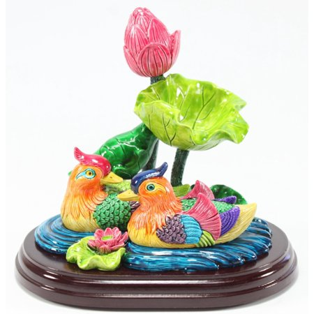 Feng Shui Mandarin Ducks in Lotus Pond Statues Figurines Marriage Luck Wedding Gift Home Decor Housewarming Congratulatory Gift](Duck Decor)