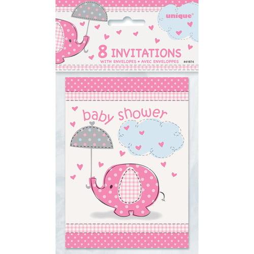 Pink Elephant Baby Shower Invitations, 8pk