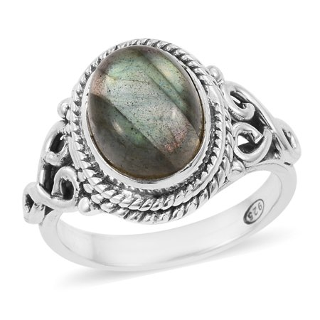 925 Sterling Silver Artisan Crafted Oval Labradorite Engagement Ring for - Top Fire Labradorite Ring