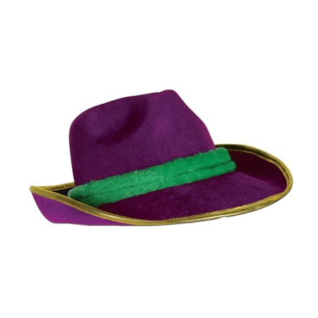 Pack of 6 Purple, Green and Gold Mardi Gras Party Fedora Hat Accessories 13
