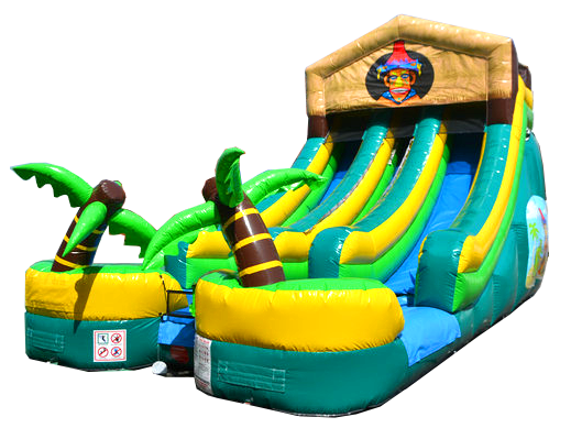 Click here to buy Pogo 18' Tiki Commercial Inflatable Double Lane Wet or Dry Waterslide by Pogo Bounce House.