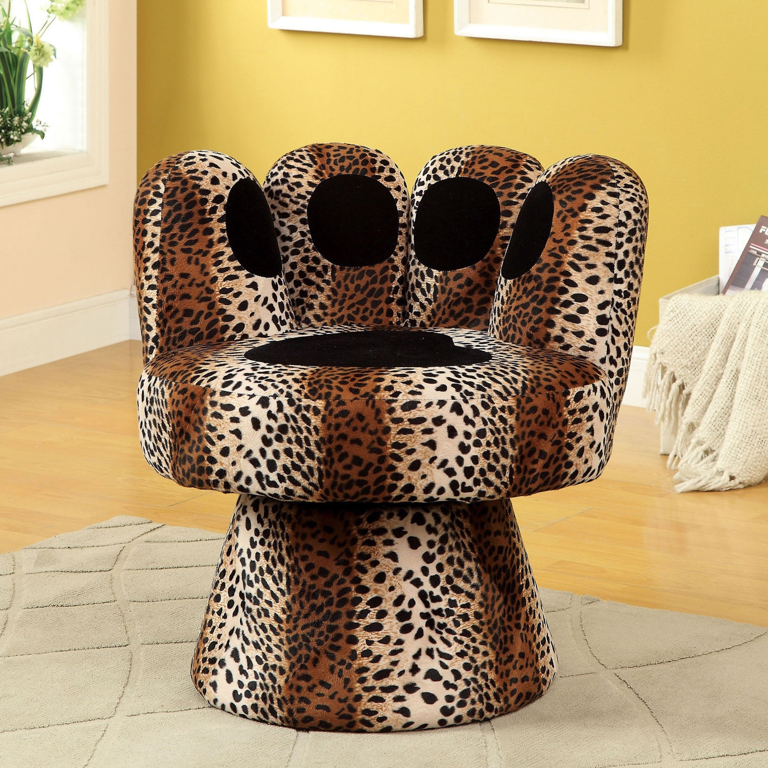 Furniture of America  Feline Paw-inspired Swivel Accent Chair Beige, Black