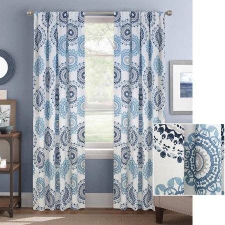 of steel print amazon top home x curtains slp stainless best grommet set panels fashion blend medallion l nickel com curtain linen w grey blue