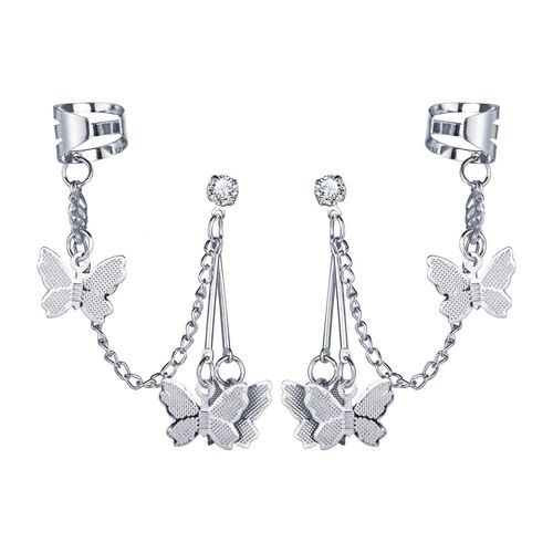 Silver Clip-on Earrings Water droplets beads black small butterfly