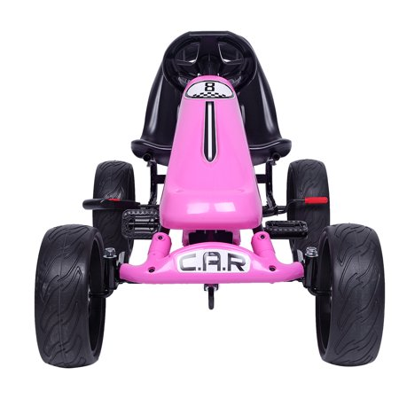Kids Ride On Car, 4 Wheel Pedal Go Kart with Ergonomic Adjustable Seat, Sports Steering, Brake, Ride On Toys for 3-8 Year Old Boys & Girls, Outdoor Racing Toy, Pedal Cart for Child, Pink, W4463 (Go Kart Sport)