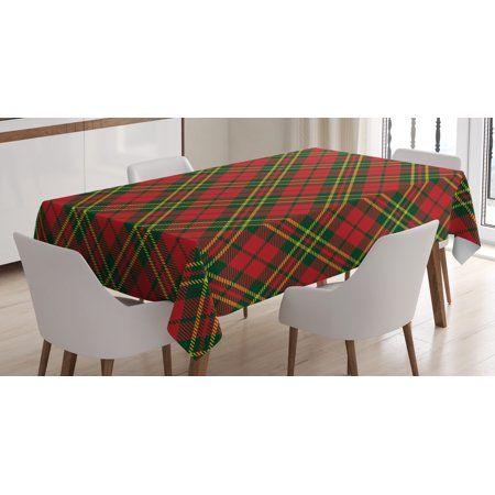 Checkered Tablecloth, Irish Tartan Plaid Motifs in Christmas Colors Geometrical Crossed Stripes, Rectangular Table Cover for Dining Room Kitchen, 60 X 84 Inches, Red Emerald Yellow, by Ambesonne