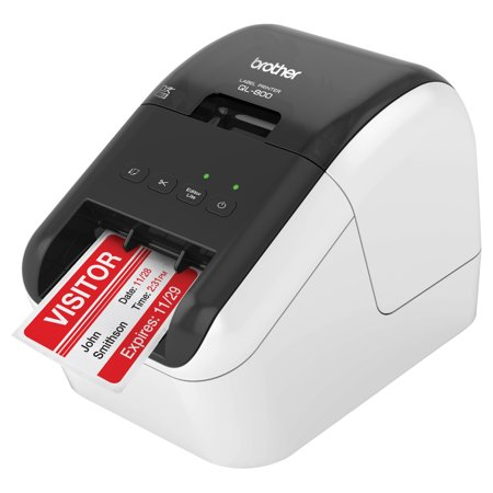 Brother QL-800 High-Speed Professional Label Printer, Lightning Quick Printing, Plug & Label Feature, Brother Genuine DK Pre-Sized Labels, Multi-System Compatible – Black & Red Printing Available ()