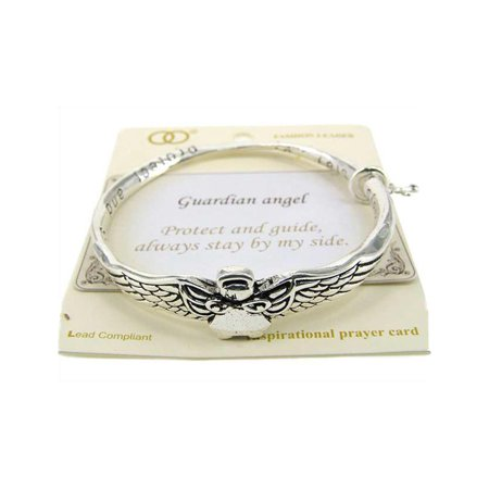Beautiful Guardian Angel Inspirational with Cross Charm Silver Tone Bangle - Inspirational Bracelets