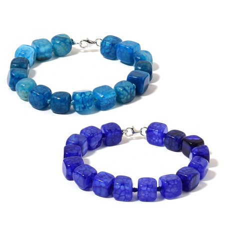 Royal Blue Lapis Bracelet (Blue Agate and Lapis Lazuli Beads Rhodium Plated Silver Set of 2 Fashion Bracelet For Women)