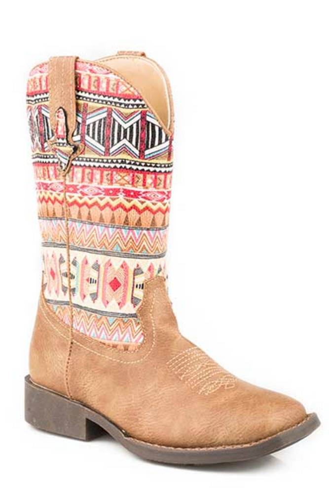Roper Footwear Boys Kids Tan Leather Print Aztec Top Boot