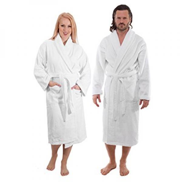 Luxury Terry Cotton Cloth Plush Bathrobe - Premium Cotton...
