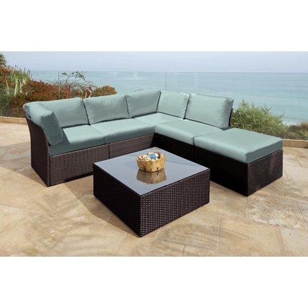 6 pc newport jacobean resin wicker outdoor furniture for Outdoor sectional sofa walmart