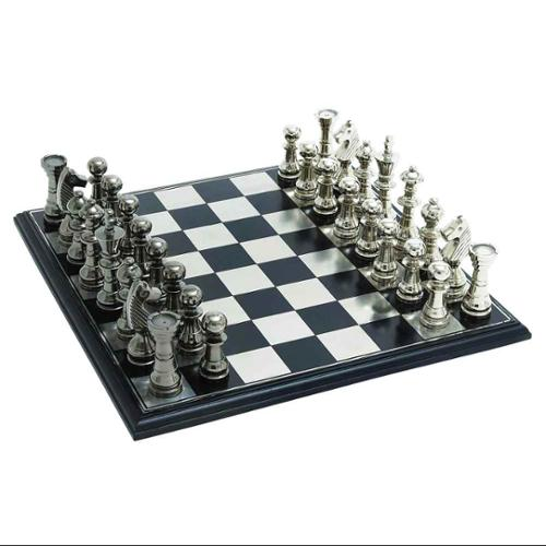 Black Silver King Sized Chess Board Game Pieces Parlor Décor 28371