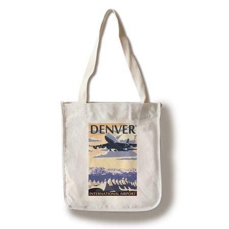 Denver, Colorado - Airport View - Lantern Press Artwork (100% Cotton Tote Bag - Reusable)