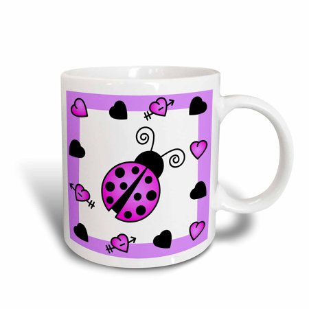 3dRose Love Bugs Purple Ladybug with Hearts, Ceramic Mug, 11-ounce
