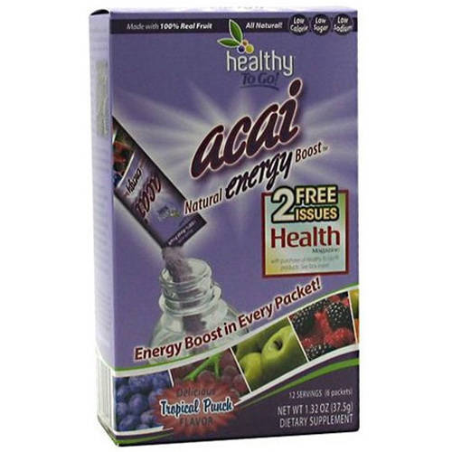 Healthy To Go! Acai Natural Energy Boost, Tropical Punch, 6 CT
